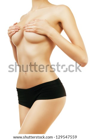 naked woman in panties on white background - stock photo