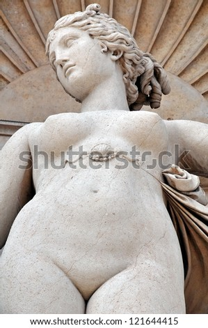 Naked woman sculpture in Trieste, Italy - stock photo