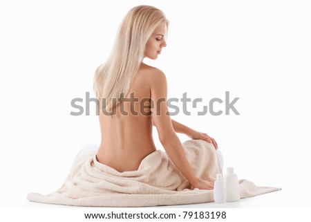Naked young girl on a white background - stock photo