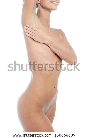 Naked young woman over white background