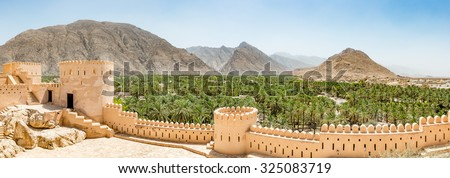 Nakhal Fort in Al Batinah Region of Oman. It is located about 120 km to the west of Muscat, the capital of Oman. Nakhal town is known as the town of oasis. - stock photo