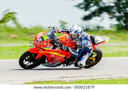 NAKHON PATHOM - JULY 25 : Surarat P. with Yamaha R3 motorcycle in Thailand SuperBikes Championship 2015 Round 1 at Thailand Circuit, on July 25, 2015 in Nakhon Pathom, Thailand. - stock photo