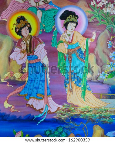 NAKHON PATHOM,THAILAND - FEBRUARY 23 :Traditional Chinese mural on temple wall at Wat Onoi on February 23, 2013 in Nakhon Pathom, Thailand.  - stock photo