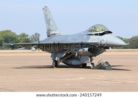 Nakhon Ratchasima - JAN 11: F-16 display/show on children's Day at Korat Royal Thai Air Force Base located in northeast Thailand, January 11, 2014, Nakhon Ratchasima, Thailand. - stock photo