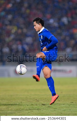 NAKHON RATCHASIMA THA-Feb07:Peerapat Notchaiya#2 of Thailand in action during the 43rd King's cup match between Thailand and Korea Rep at Nakhon Ratchasima stadium on February07,2015 in Thailand - stock photo