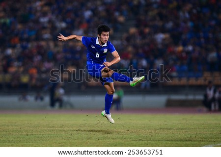NAKHON RATCHASIMA THA-Feb07:Sarach Yooyen of Thailand in action during the 43rd King's cup match between Thailand and Korea Rep at Nakhon Ratchasima stadium on February07,2015 in Thailand. - stock photo