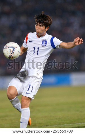 NAKHON RATCHASIMA THA-Feb07:Yun Il-lok of Korea Rep in action during the 43rd King's cup match between Thailand and Korea Rep at Nakhon Ratchasima stadium on February07,2015 in Thailand. - stock photo