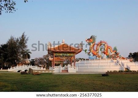 Nakhon Sawan has one of the biggest Chinese communities in all of Thailand. There are many Chinese temple pagodas around the city. - stock photo