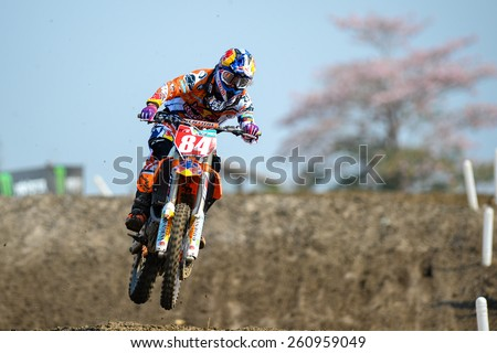 Nakhonchaisri,THAI-MAR 08:Jeffrey Herlings#84 of KTM NED KNMV Red Bull KTM Factory Racing competes during the Thai MXGP World Championship at thailand Circuit on March08,2015 in Nakhonpathom,Thailand - stock photo