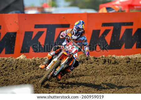 Nakhonchaisri,THAI-MAR 08:Jeffrey Herlings#84 of KTM NED KNMV Red Bull KTM Factory Racing race during The Thai MXGP World Championship at thailand Circuit on March08,2015 in Nakhonpathom,Thailand - stock photo
