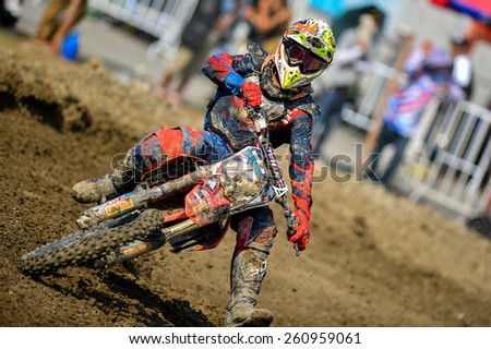 Nakhonchaisri,THAI-MAR 08:Motocross riders perform on the competes during the Thai MXGP World Championship at thailand Circuit on March08,2015 in Nakhonpathom,Thailand - stock photo