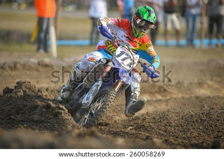 Nakhonchaisri,THAI-MAR08:Paul Coates#177 of Yamaha GBR AMA JK Racing Yamaha competes during the Thai MX GP World Championship at thailand Circuit on March08,2015 in Nakhonpathom,Thailand - stock photo