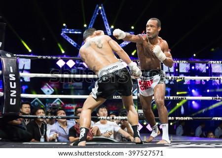 NAKHONNAYOK, THAILAND - 4 April 2015: Thailand World Championship boxing match, Muay Thai Fight World's, Champion Isuzu. - stock photo
