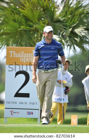NAKHONPATHOM,THAILAND - AUG 12:Kim Felton of AUS in action during day two of the 2011 Thailand Open at Suwan Golf&Country Club on August 12, 2011 in Nakhonpathom Thailand