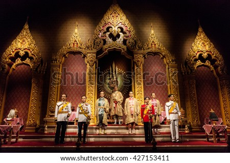 Nakhonpathom, THAILAND - MAY 27,2016: The Royal Images of Chakri Dynasty Kings of Thailand was show at Thai Human Imagery Museum on May 27,2015 in Nakornprathom,Thailand