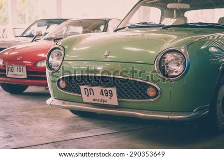 NAKHONPHATHOM - THAILAND - June 24 : The retro vintage old cars show in Jessada Technique Museum on June 24, 2015 Nahkonprathom Province, Thailand - stock photo