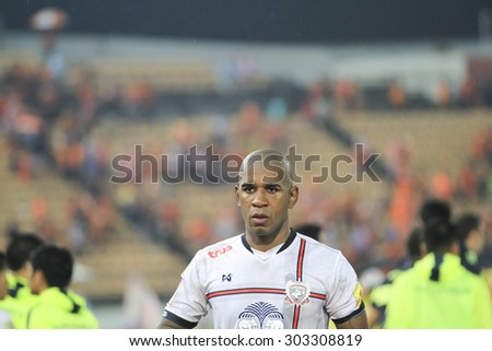 NAKHONRATCHASIMA THAILAND-AUG 2:Marcio Rosario of Suphanburi  FC in action during the Thai Premier League Suphanburi F.C.and Nakhon Ratchasima FCat 80th Birthday Stadium on Aug 2,2015 in Thailand.