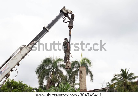 NAKHONRATCHASIMA, THAILAND - AUGUST 8, 2015: Construction of residential home construction by using drilling rigs in Nakhon Ratchasima Korat.