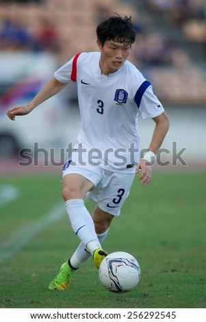 NAKHONRATCHASIMA THAILAND-FEB 04:Park Dongjin of South Korea control the ball during during the 43rd King's cup between Honduras and South Korea at Nakhon ratchasima stadium on Feb04,2015 in Thailand.