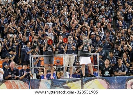 NAKHONRATCHASIMA THAILAND-JULY11:Fan clubof Burirum Utd in action during the Thai Premier League Burirum Utd and Nakhon Ratchasima FCat 80th Birthday Stadium on July11,2015 in Thailand. - stock photo