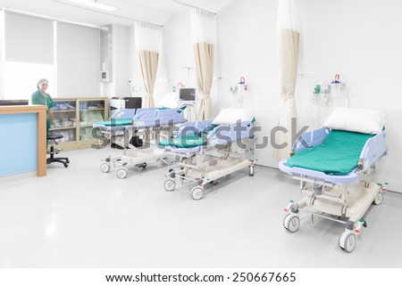 NAKHONRATCHASIMA, THAILAND - November 15, 2014: Operating room with modern equipment and comfortable equipped in hospital, November 15, 2014 in Nakhonratchasima, Thailand.