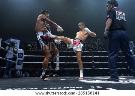 Nakhonsawan, Thailand - August 15, 2014: Competition Finals to the Thai Boxer in World Muay Thai Fight 2014 at Nakhonsawan, Thailand on August 15, 2014.