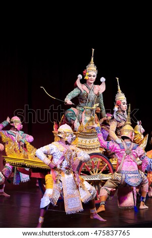 Nakhornratchasima Provice,Thailand- 27 August 2016,KHON is Thai treditional art classical masked ballet,Thai drama at Nakhornratchasima Performing theatre,THAILAND