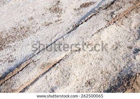 Naklua Mass of salt in salt seaside farm, Samutsungkhram Thailand - stock photo