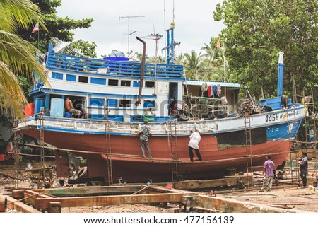 Nakron Si Thummarat , THAILAND - JULY 17, 2016 : Fishing boat under maintenance in Thailand