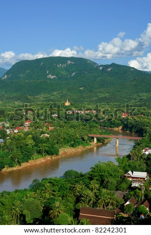 Nam Khan River state at Luang Prabang City - stock photo