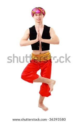 Namaste. Oriental man in turban on a white background. - stock photo