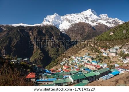 Namche Bazaar, Himalaya, Nepal - stock photo