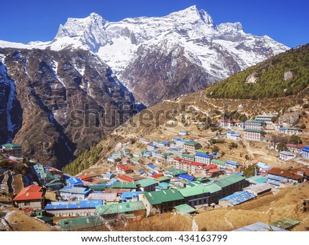Namche Bazaar village on the way to Everest Base Camp, Khumbu Region, Nepal Himalaya. - stock photo