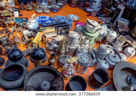 NAMDINH ,VIETNAM - FEBRYARY 14 ,2016 :The old and new products are sold in Vieng Market Festival in the early days of the new year