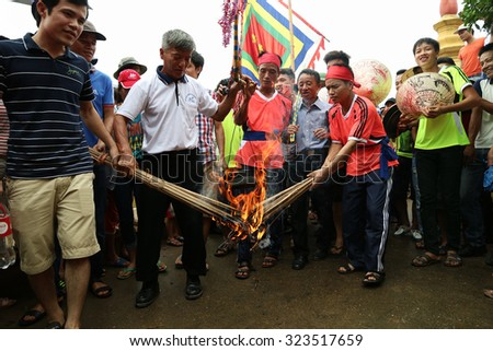 "Namdinh, Vietnam - Oct 03, 2015: Contest cooking rice in the traditional festivities at village ""Xuan hy"", Namdinh, Vietnam. Namdinh is located in the south than the capital Hanoi, Vietnam."