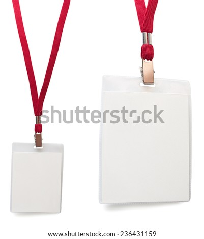 Name badge: general view and close-up isolated copy space - stock photo