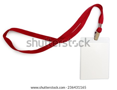 Name badge with red lace close-up isolated copy space - stock photo