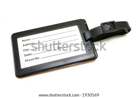 Name Tag for Luggage isolated on white background - stock photo