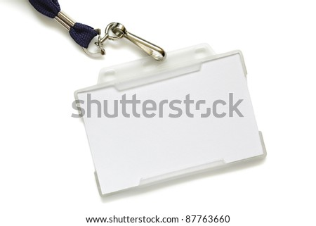Name tag in plastic sleeve with lanyard, identity card is left blank for label - stock photo