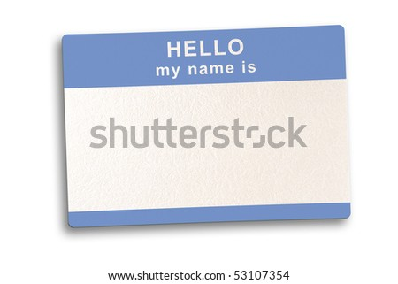 Name tag isolated  on white background with soft shadow, clipping path included - stock photo