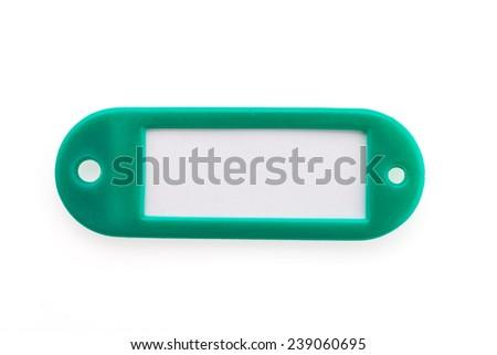Name tag luggage isolated on white background - stock photo