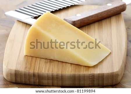 named after an area in Italy parmigiano reggiano or parmesan cheese is one of the world's most famous and delicious cheeses.  shallow d.o.f - stock photo