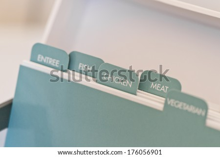 named tabs on a recipe card box - stock photo