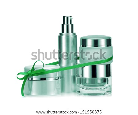 Nameless beauty set gift on white background in green color - stock photo