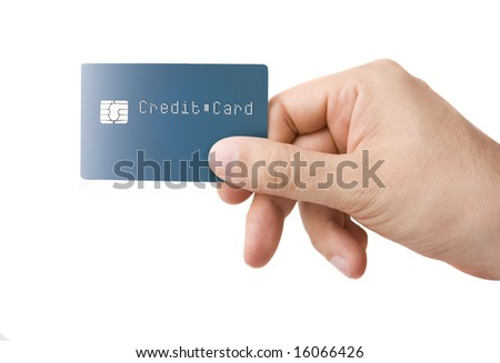 Nameless credit card with chip in a male hand isolated on white - stock photo