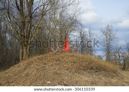 Nameless mass grave of the Great Patriotic War in d.Zapole. Luga district, Leningrad region