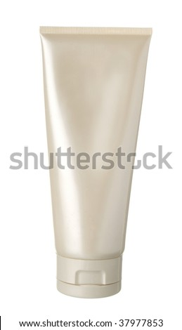 nameless white pearl plastic bottle for beauty product on white background - stock photo