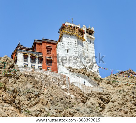 Namgyal Tsemo Gompa (Castle at Tsemo) against the background of blue sky - Tibet, Leh district, Ladakh, Himalayas, Jammu and Kashmir, Northern India - stock photo