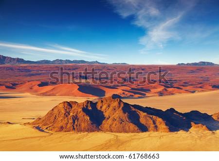 Namib Desert, dunes of Sossusvlei, aerial view - stock photo