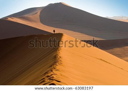 Namib Desert Dunes, Sossusvlei, Namibia - stock photo